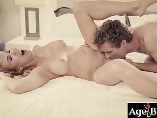 Young guy eating a hot mature pussy making it wetter and wetter as his tongue runs through her clit