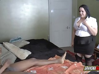 the grandmother and her friend fuck a big black cock