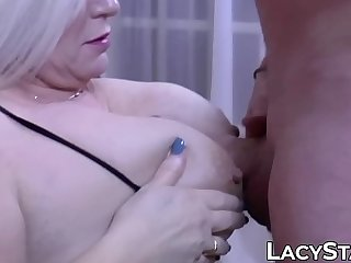 Granny shoves big cock inside of her mouth and pussy
