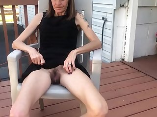 Skinny granny lifting her dress and flashing her hairy pussy for the world to see