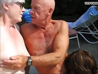 Grandpa get dick sucked by stranger mature woman in front his wife