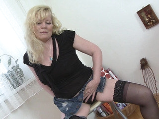 Large bumpers matured blond in nylons groaning during the time that masturbating