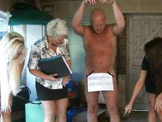CFNM femdoms in group humiliating their pathetic sub