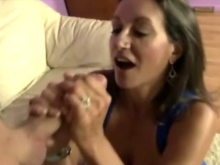 Milf plays with her huge tits while jerking