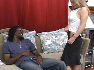 Hot businesswoman on a black cock