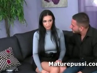 Super hot brunette milf ass on display for a much younger man