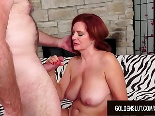 Redheaded Mature Babe Andi James Has Torrid Sex with a Passionate Old Man